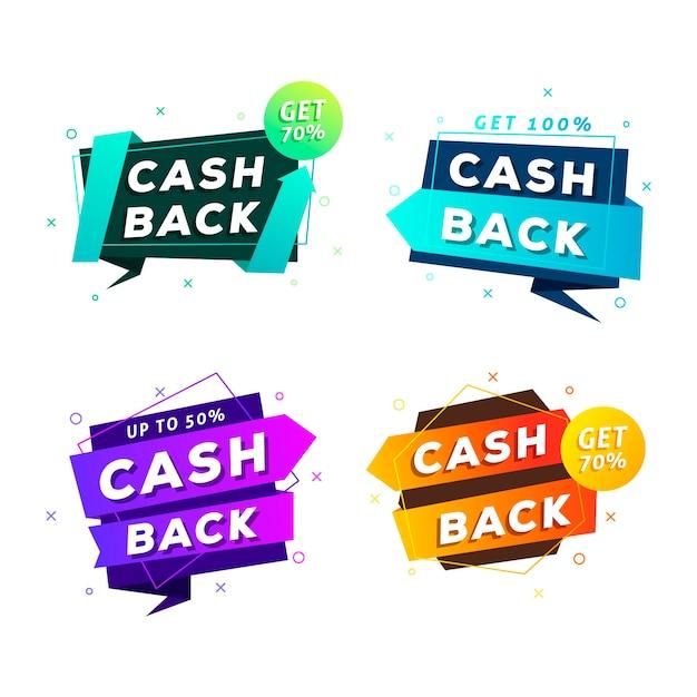 Cashback этикетки плоский дизайн в цветах Бесплатные векторы