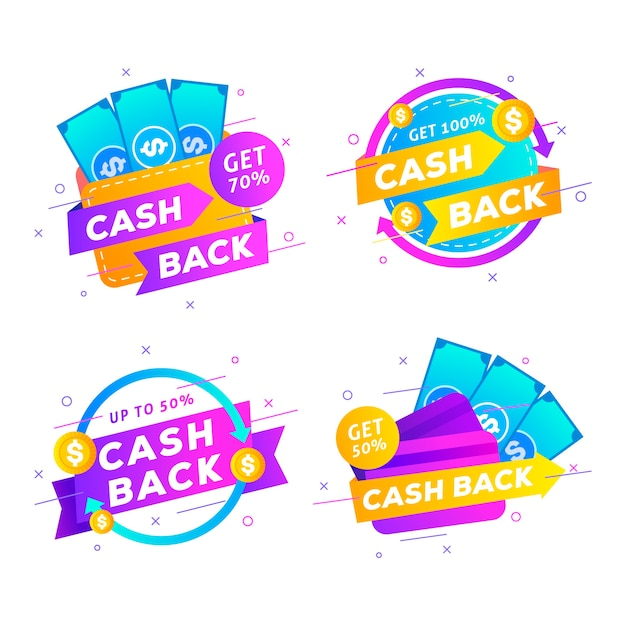Cashback labels flat design with ribbons Free Vector