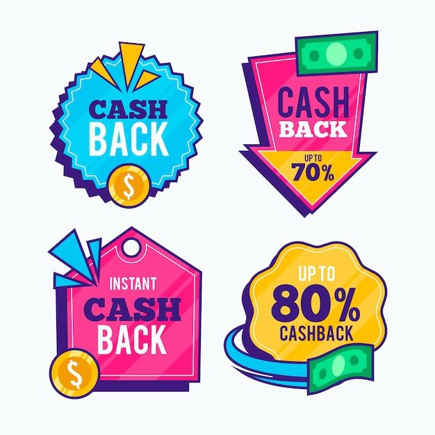 Набор наклеек cashback Бесплатные векторы