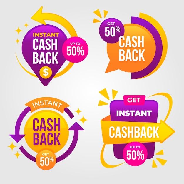 Etichette cashback in colori vivaci Vettore gratuito