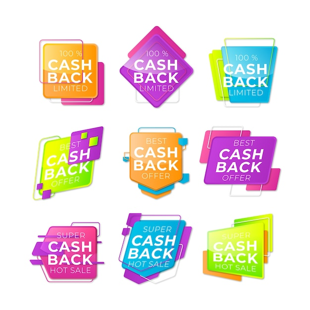Cashback labels with limited offer Free Vector