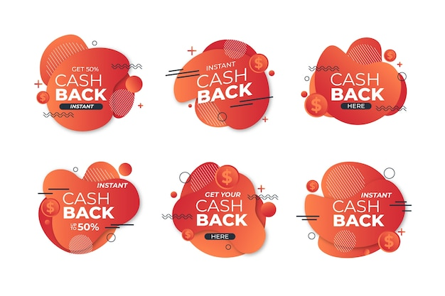 Cashback labels with memphis design Free Vector