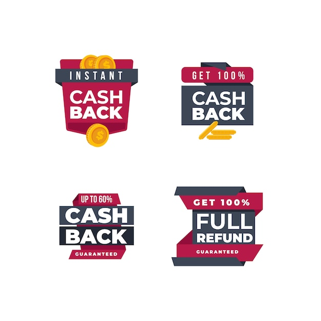 Cashback money badges and labels Free Vector