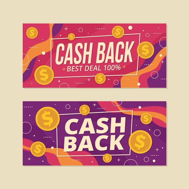 Cashback set di banner web template Vettore gratuito