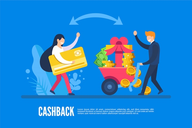Концепция cashback с людьми и деньгами Бесплатные векторы
