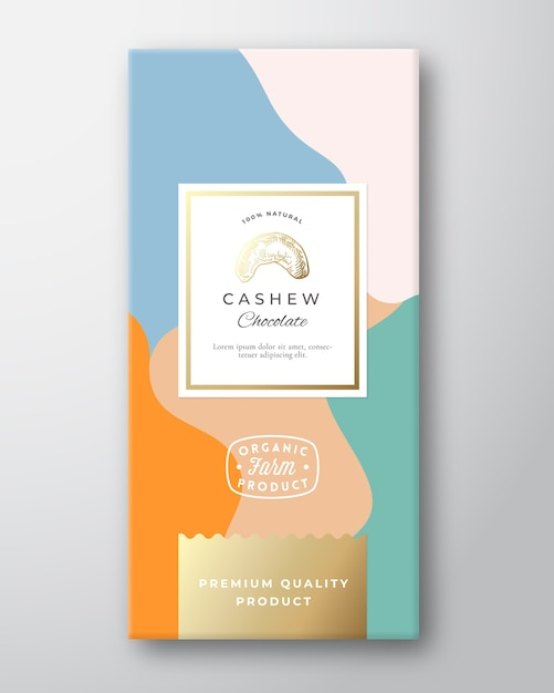 Cashew chocolate label. abstract  packaging  layout with soft realistic shadows. Free Vector