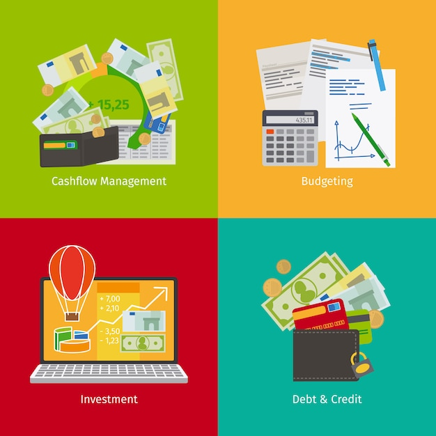 Cashflow management and financial planning Premium Vector