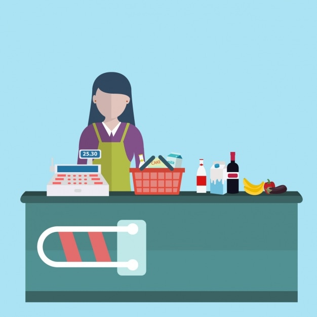 Cashier background design Free Vector