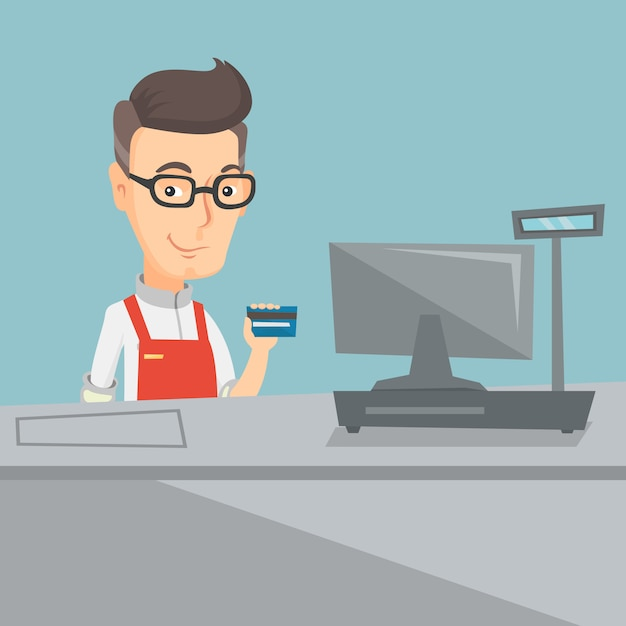 Cashier holding a credit card at the checkout. Premium Vector