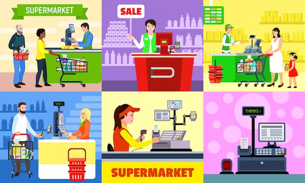 Cashier illustration set. flat illustration of cashier Premium Vector