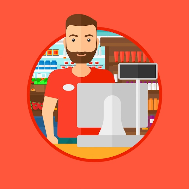 Cashier standing at the checkout in supermarket. Premium Vector