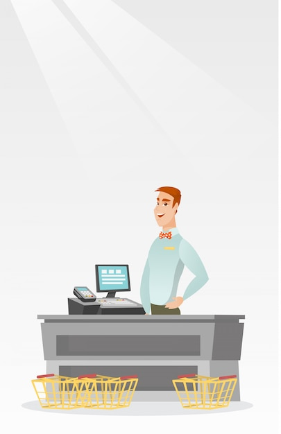 Cashier standing at the checkout in a supermarket. Premium Vector