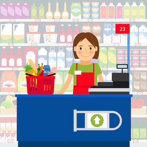 Cashier woman at the cash register machine and a shopping cart of groceries. vector illustration Premium Vector