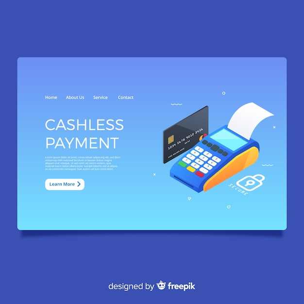 Cashless payment landing page Free Vector