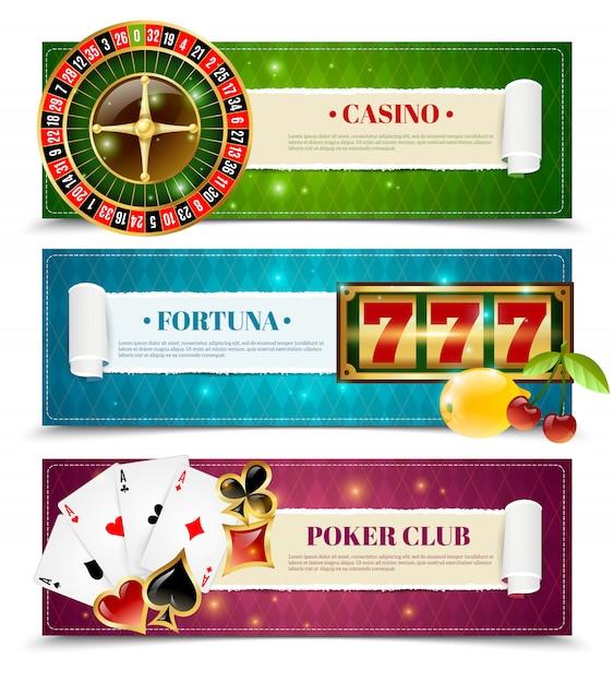Casino 3 horizontal banners set Free Vector