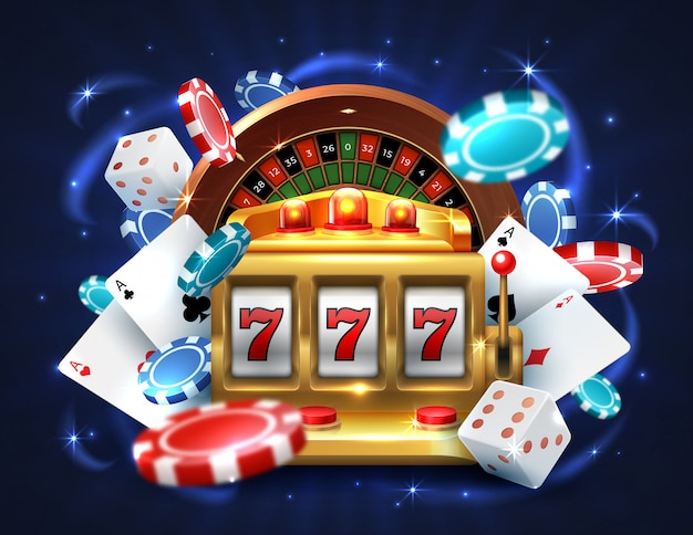 Premium Vector | Casino 777 slot machine. gambling roulette big lucky prize