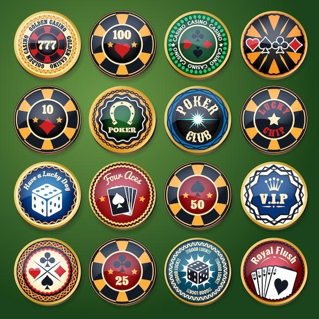 カジノとポーカークラブのカラー光沢ラベルセット。カードゲーム、賭けとチップ、遊びとレジャー、運と幸運、ベクトルイラスト 無料ベクター