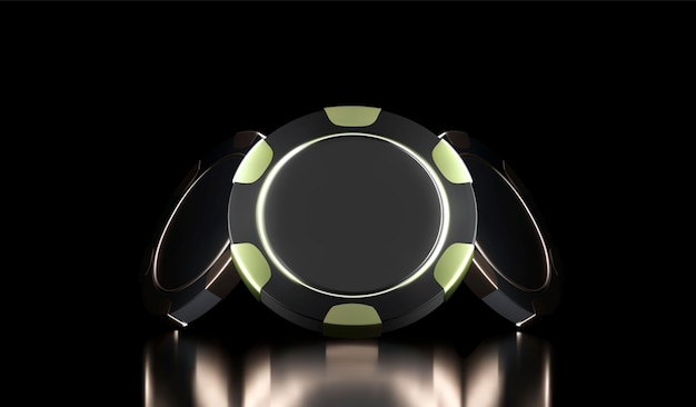 Casino background. casino game 3d chips. online casino banner. black and gold realistic chip. gambling concept, poker mobile app icon. Premium Vector