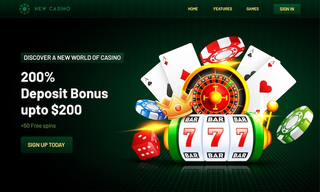 Casino background landing page Premium Vector