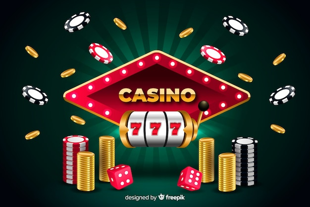 Casino background in realistic style Free Vector
