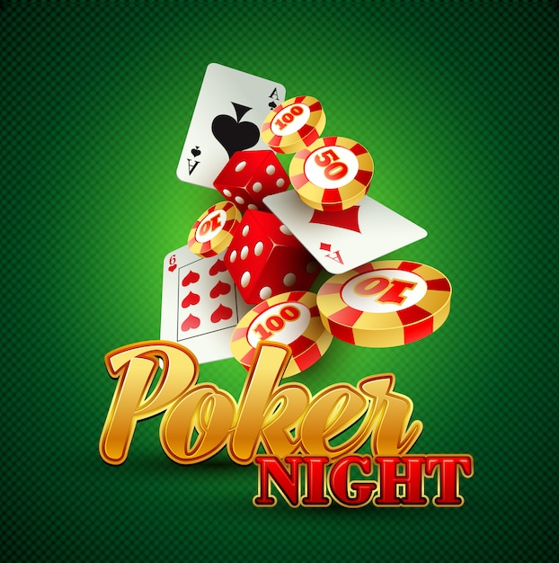 Casino background with cards, chips, craps. Premium Vector