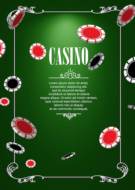 Casino  background with casino or poker chips. Premium Vector