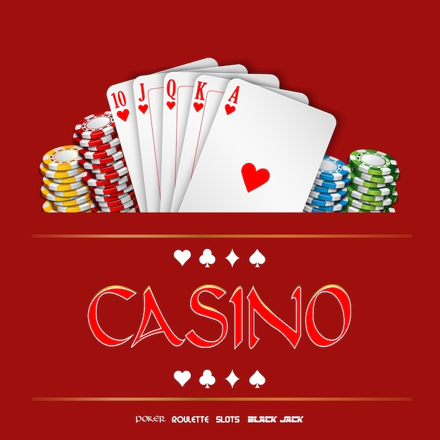 Casino background with chips and playing cards Premium Vector