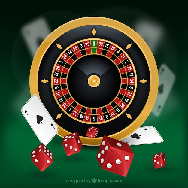 Casino Background With Roulette And Red Dice Free Vector