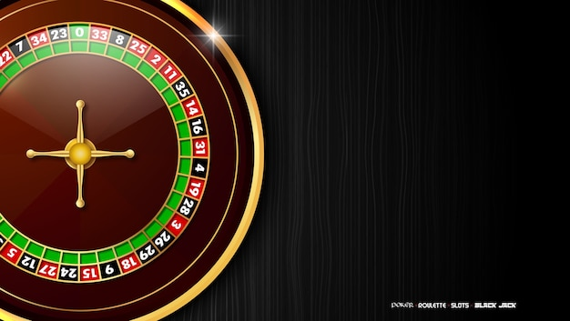 Casino background with roulette wheel on dark wooden table Premium Vector