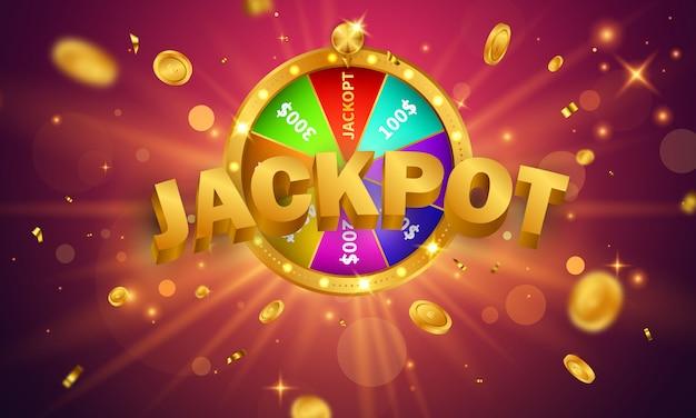 Дизайн джекпота баннера казино украшен золотыми сверкающими игровыми призовыми монетами. Premium векторы