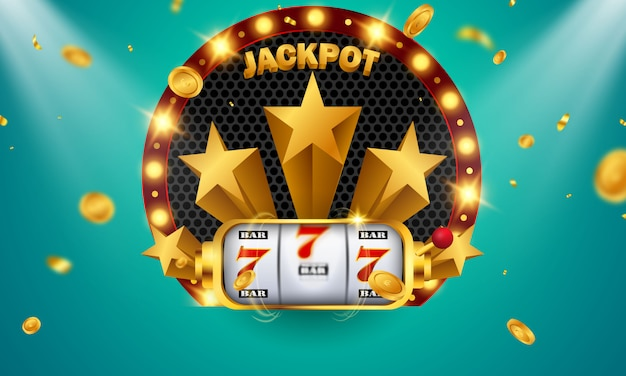 Casino banner jackpot design decorated with golden glittering playing prize sign coins. Premium Vector