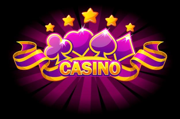 Баннер казино с символами игральных карт и фиолетовой лентой. Premium векторы
