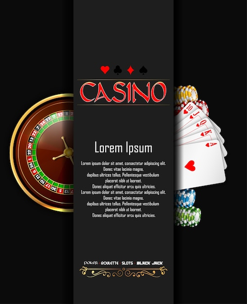 Casino banner with roulette wheel, chips and playing cards Premium Vector