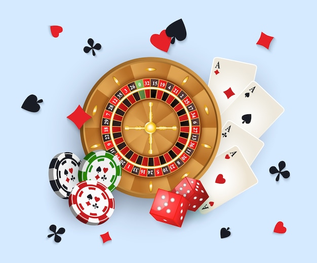 Casino banner with tokens and roulette wheel Premium Vector