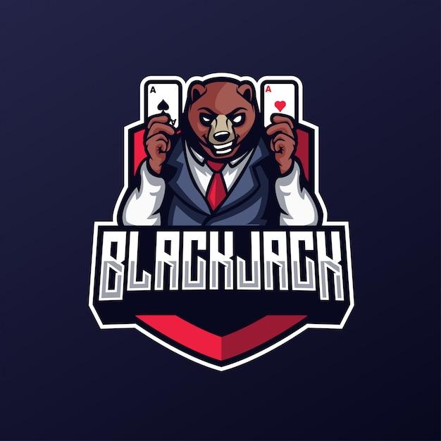 Premium Vector Casino Bear Blackjack With Card Esports Logo