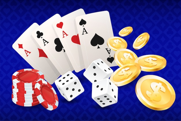 Casino, cards and casino chips, squares, aces. Premium Vector