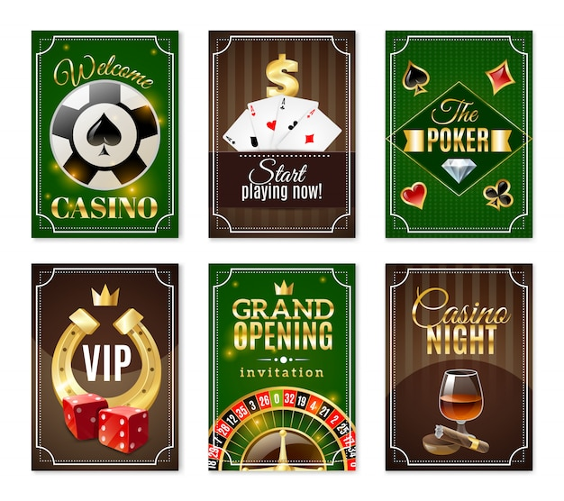 Casino cards mini posters banners set Free Vector