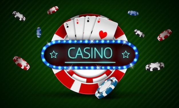 Casino chip with retro neon light sign Premium Vector