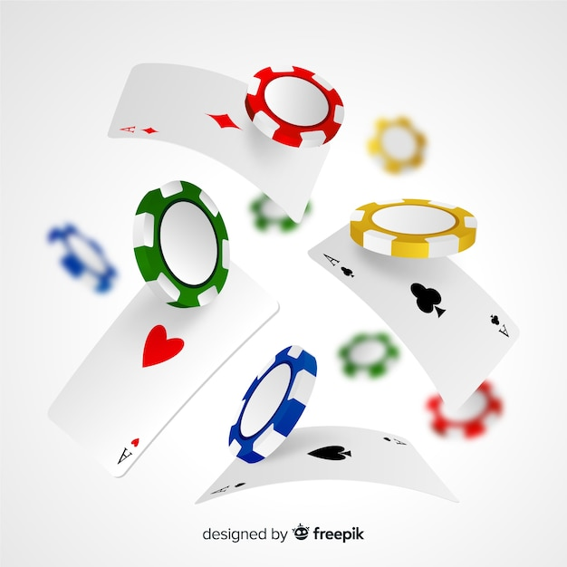 Casino chips and cards Free Vector