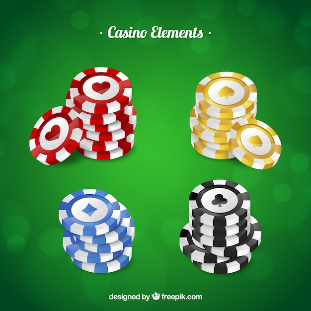 Casino chips collection Premium Vector