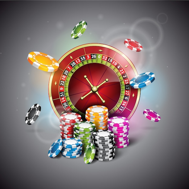 Casino chips and roulette background Free Vector