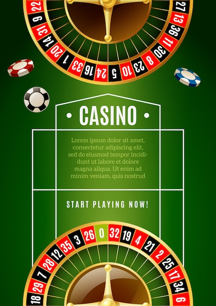 Casino classic roulette game advertisement poster Free Vector