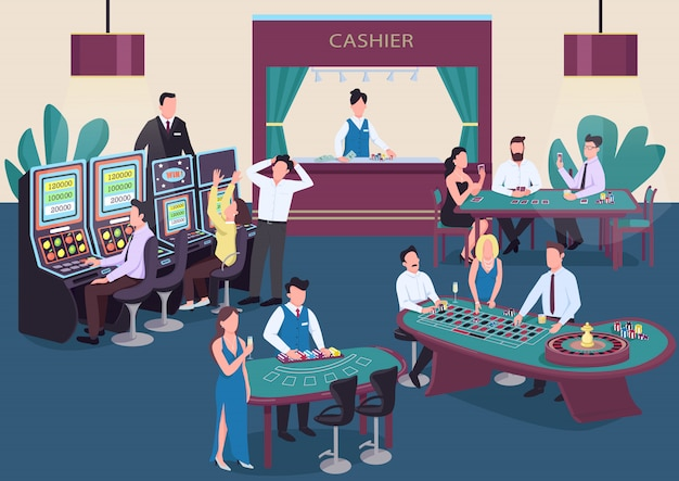 Casino color illustration. people play poker at table. man spin roulette wheel. woman at slot machine. gambler cartoon characters in interior with cashier on background Premium Vector