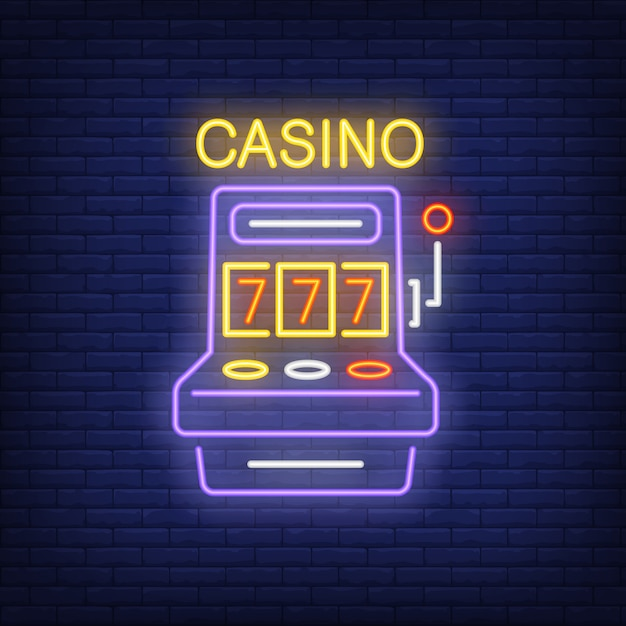 Casino colorful neon sign. slot machine shape with triple seven on brick wall background Free Vector