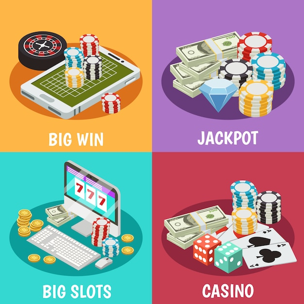 Casino composition set Free Vector