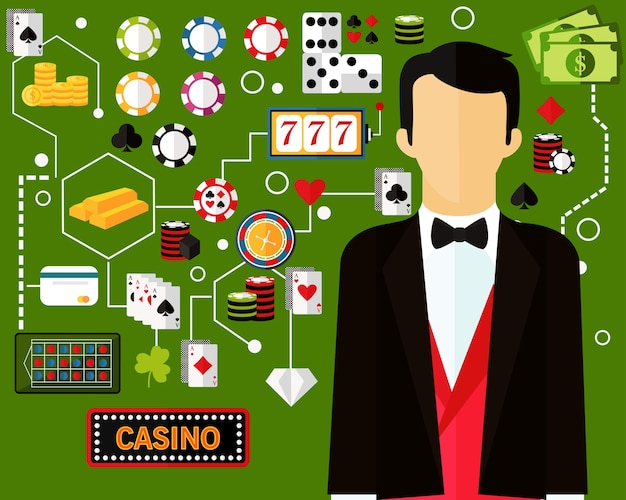 Casino concept background Premium Vector