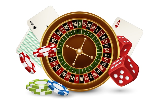 Casino concept. casino roulette, chips, dice and cards isolated on white background. illustraton casino gambling, roulette game play Premium Vector