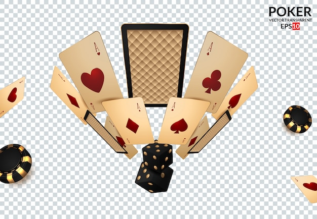 Casino design elements poker chips, playing cards and craps. Premium Vector