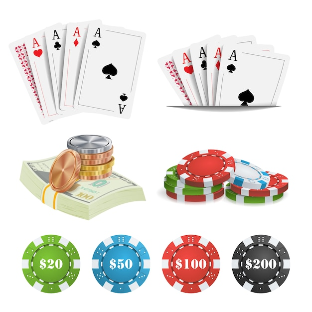 Casino design elements Premium Vector