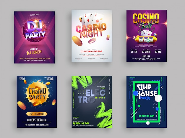 Casino dj and musical party flyer Premium Vector